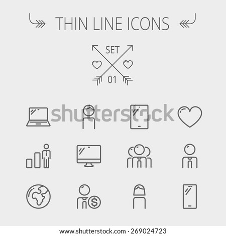 Technology thin line icon set for web and mobile. Set includes - laptop, tablet, computer, globe, man, woman, heart, statistics icons. Modern minimalistic flat design. Vector dark grey icons on light - stock vector