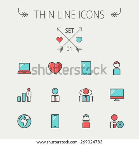 Technology thin line icon set for web and mobile. Set includes - laptop, tablet, computer, globe, man, woman, heart, statistics icons. Modern minimalistic flat design. Vector icons with dark grey - stock vector