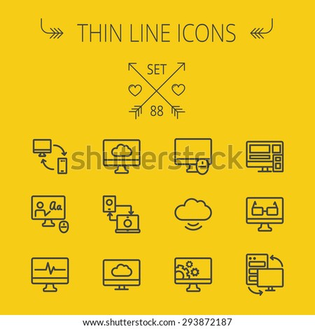Technology thin line icon set for web and mobile. Set includes - monitors transferring data, cloud, mouse, wifi, gear, speaker. Modern minimalistic flat design. Vector dark grey icon on yellow - stock vector