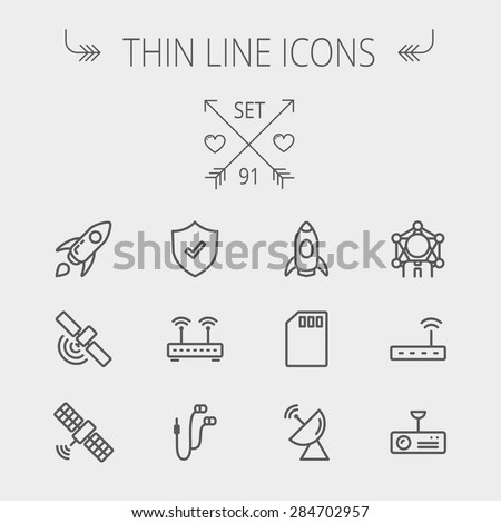 Technology thin line icon set for web and mobile. Set includes - start up, satellite, shield, router, wifi, earphone, memory card, radar. Modern minimalistic flat design. Vector dark grey icon on - stock vector