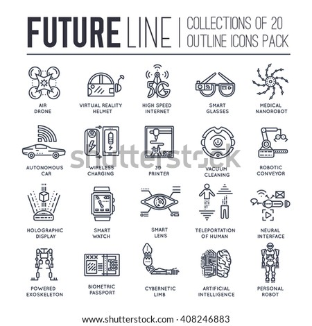 Technology thin line icons set. Automation artificial intelligence tech vector pack - stock vector