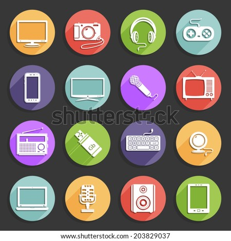 Technology vector icons - stock vector