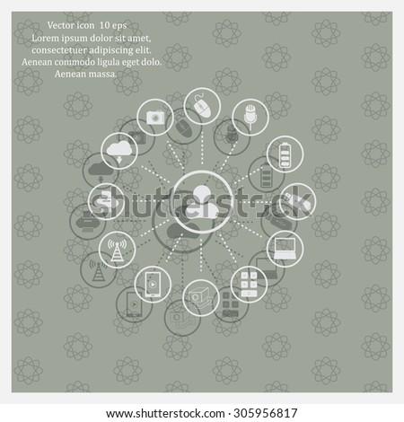 technology web icons set - stock vector