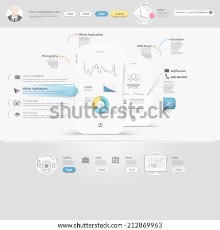 Technology website template with icons - stock vector