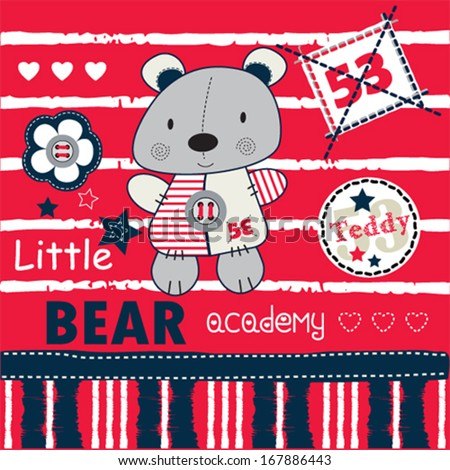 teddy bear academy background vector illustration - stock vector