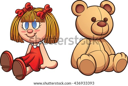 Teddy bear and doll. Vector clip art illustration with simple gradients. Each on a separate layer. - stock vector