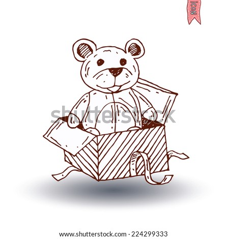 teddy bear christmas gift in box . vector illustration. - stock vector
