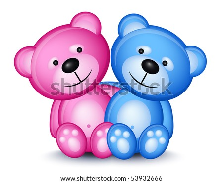 Teddy bear couple isolated on white background - stock vector