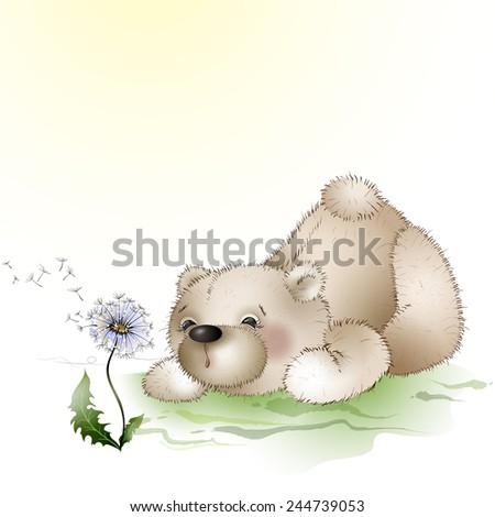 Teddy bear doll blowing on a dandelion - stock vector