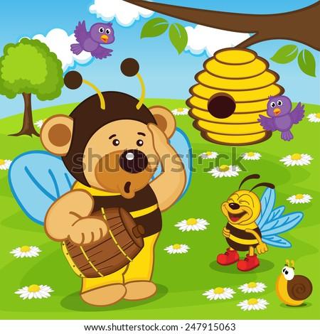teddy bear dressed as bee goes for honey - vector illustration, eps - stock vector