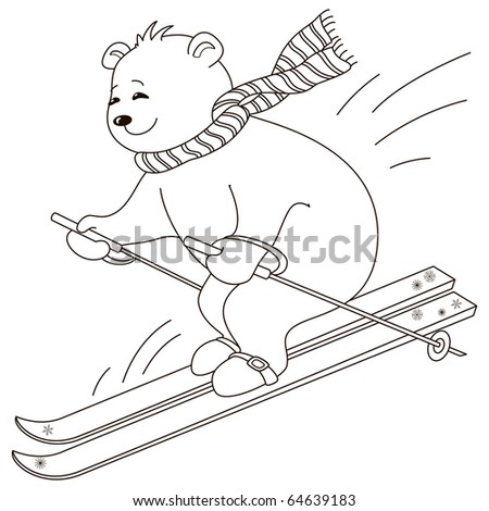Teddy bear goes for a drive on the mountain skiing, contours - stock vector