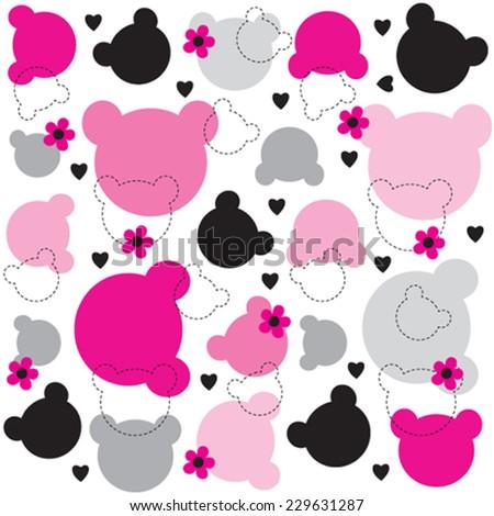 teddy bear head pattern vector illustration - stock vector