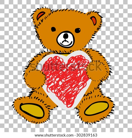 Teddy Bear - Holding Love Shape Paper, at transparent effect background  - stock vector
