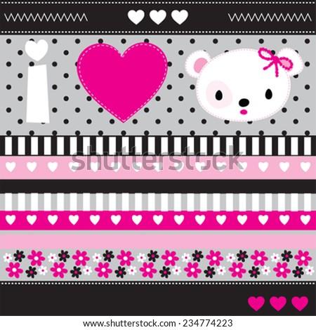 teddy bear love card vector illustration - stock vector