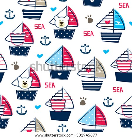 teddy bear on ship seamless pattern background vector illustration - stock vector