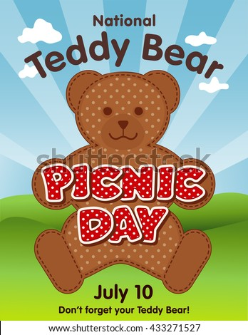 Teddy Bear Picnic Day poster, national holiday in USA on July 10, kids and their favorite stuffed toys have lunch outdoors, red polka dot text, blue sky background. - stock vector