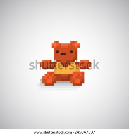 Teddy bear pixel. - stock vector