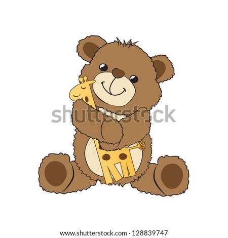 teddy bear playing with his toy, a giraffe, vector illustration - stock vector