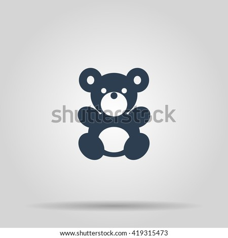 Teddy bear plush toy flat icon for apps and websites - stock vector