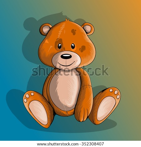 teddy bear seated on a gradient background, isolated - stock vector