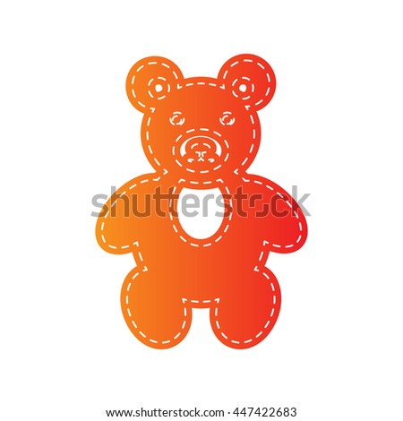 Teddy bear sign illustration. Orange applique isolated. - stock vector
