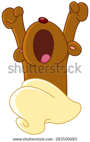 Teddy bear waking up or going to sleep, yawning and stretching - stock vector