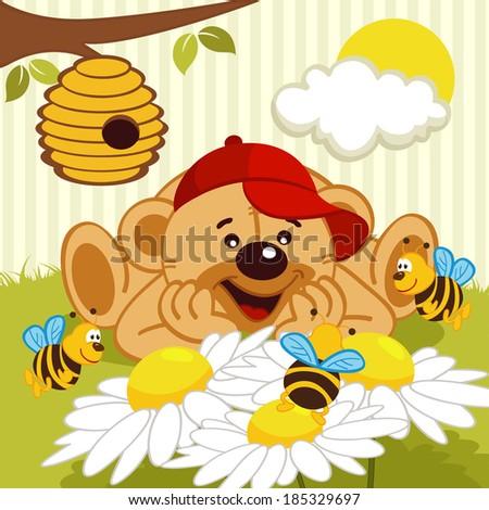 teddy bear watching bees on daisy - vector illustration - stock vector