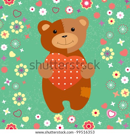 Teddy bear with a heart on the lawn in spring - stock vector