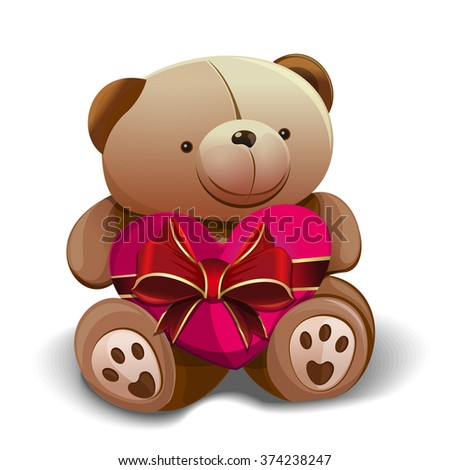 Teddy bear with pink heart tied with a red ribbon. Vector illustration. - stock vector