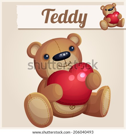Teddy bear with red heart. Cartoon vector illustration. Series of children's toys - stock vector