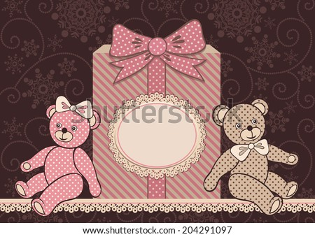 Teddy bears and gift. Greeting card with frame (for your text).  Glamour vintage vector illustration. - stock vector