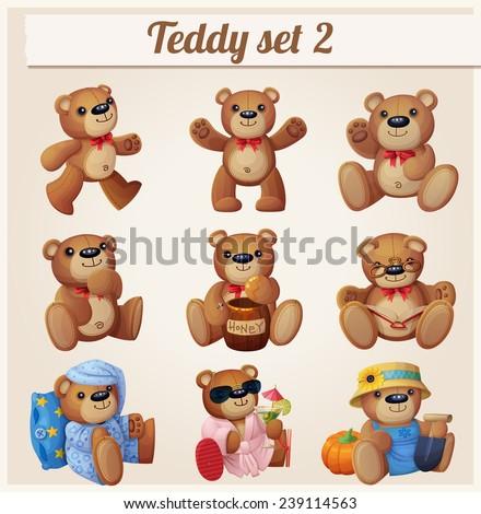 Teddy bears set. Part 2. Cartoon vector illustration - stock vector