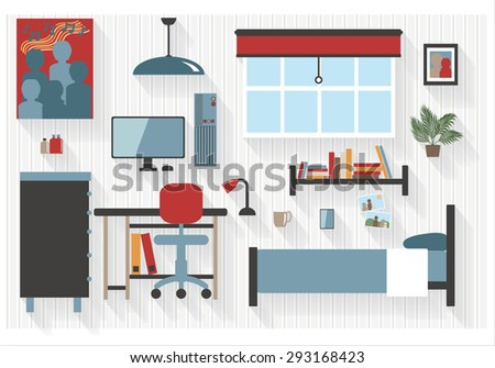 Teen Bedroom Furniture with Computer Desk and Bed Flat Icons - All Long Shadows on one layer - contains blends  - stock vector