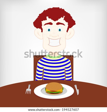 Teen hungry for a burger. Hungry smiling boy sitting at the table to eat a burger. - stock vector