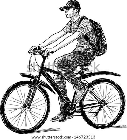 teen riding a bicycle - stock vector