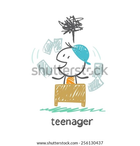 teenager boy tears the paper at the table illustration - stock vector