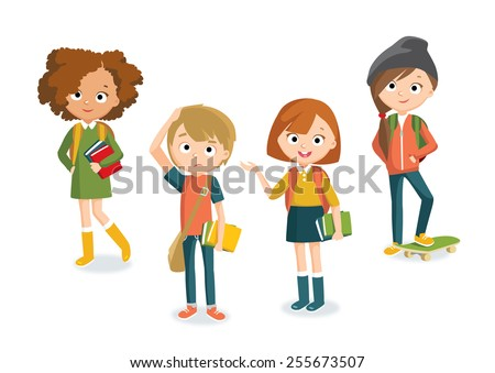 teenager's characters - stock vector