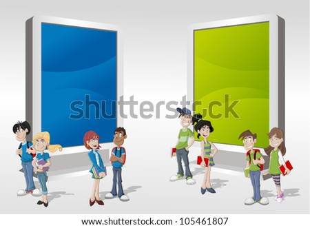 Teenager students in front of colorful billboard - stock vector