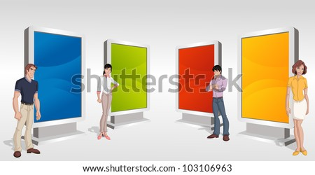 Teenager students in front of colorful billboards - stock vector