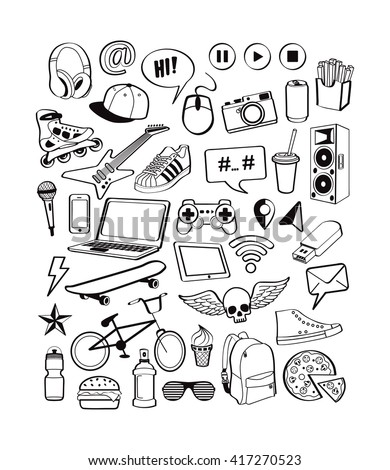 Teenagers having fun. Set icons for teenage boy. Doodles elements isolated on white background for design thinking cool idea with sports, music, multimedia, delicious, shoes. Vector illustration - stock vector