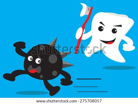 Teeth and Bactery - stock vector