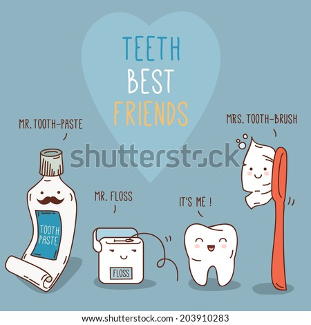 Teeth best friends - tooth past, tooth brush and floss. Vector illustration. Dental concept for your design. Illustration for children dentistry and orthodontics. Cute teeth characters. - stock vector