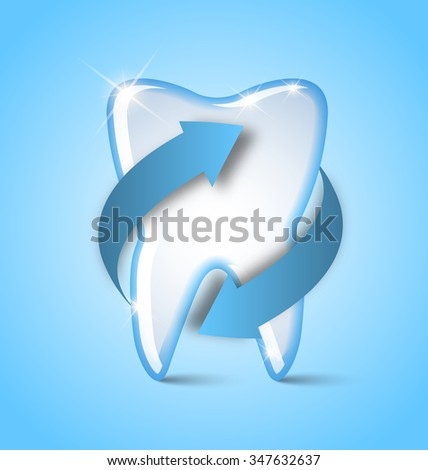 Teeth protection icon placed on pale blue background - stock vector
