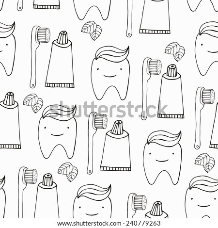 Teeth seamless pattern. Vector illustration. - stock vector
