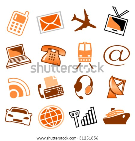 Telecom and transport icons - stock vector