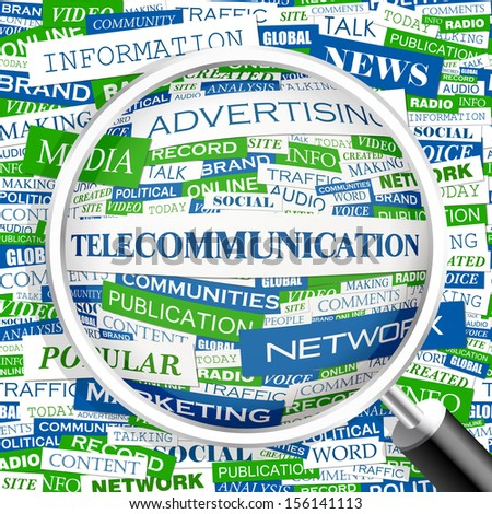 TELECOMMUNICATION. Word cloud concept illustration. Graphic tag collection. Wordcloud collage with related tags and terms.  - stock vector