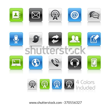 Telecommunications Icons / The file Includes 4 color versions in different layers. - stock vector