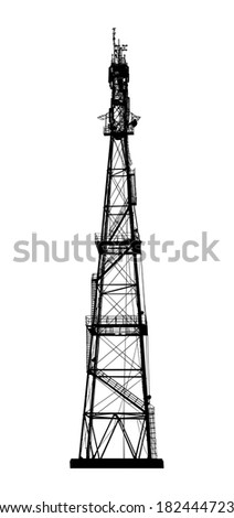 Telecommunications tower. Radio or mobile phone base station. Isolated on white background. Vector EPS10. - stock vector