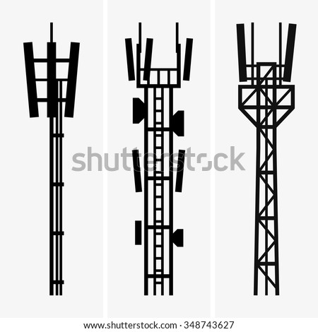 Telecommunications towers - stock vector