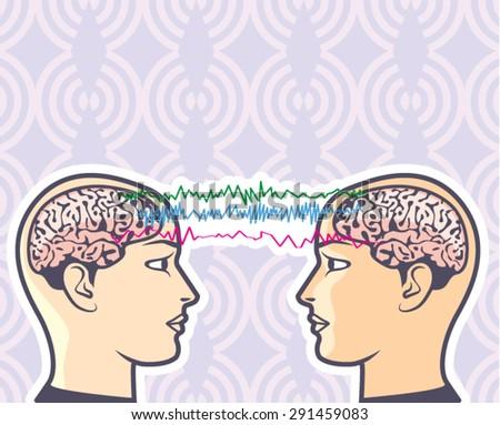 Telepathy Between Human Brains via Brainwaves Vector Illustration - stock vector
